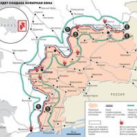 карта на буферната зона в Донбас