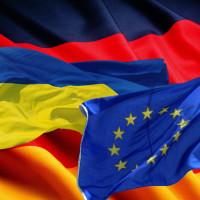 Flags of Germany Ukraine EU