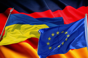 Flags of Germany Ukraine EU