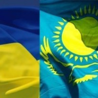 Flags of Ukraine and Kazakhstan