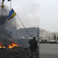 Киевският Майдан днес и точно преди една година (фотогалерия)
