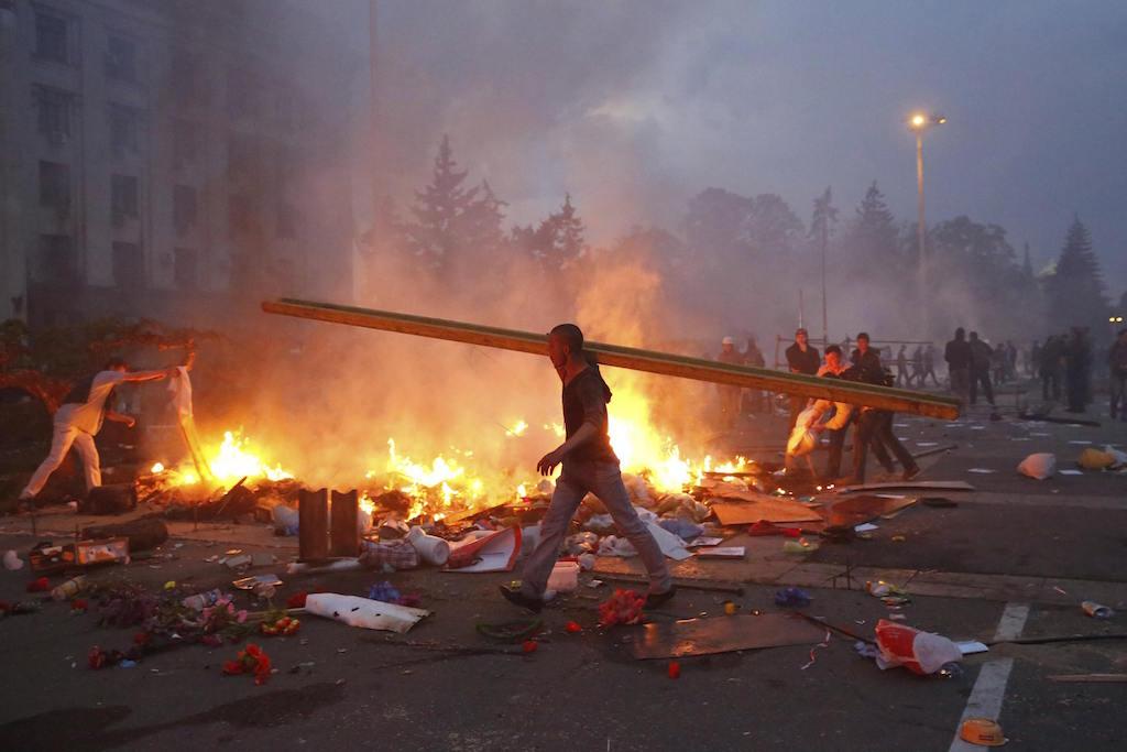 Пожар в Дома на профсъюзите в Одеса